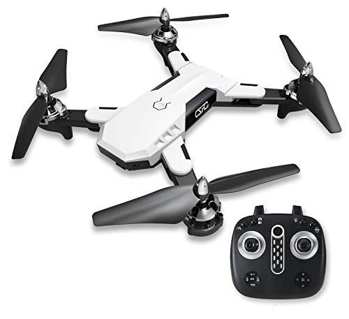 WANGKM FPV Drone, 720 * 480p HD Videocamera Live Video, GPS Ritorno a Casa, RC Quadcopter, Motore Brushless, Luce Notturna Dinamica, Follow Me, Trasmissione WiFi, per Principianti Adulti,White