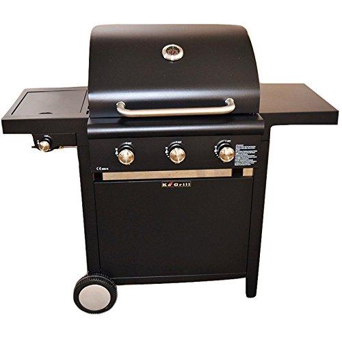 BAKAJI Barbecue Professionale A Gas con Sistema Cottura Pietra Lavica con Fornello Laterale in...