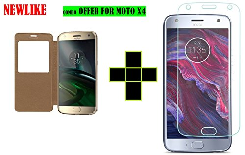 Newlike Flip Cover With Tempered Glass For Moto X4