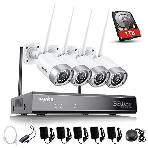 SANNCE 1080P Kit Videosorveglianza WiFi NVR 8 Canali 4 Wireless Telecamere di Sorveglianza 1080P Videocamera Sorveglianza Eseterno Visione Notturna Motion Detection P2P IP66 1TB HDD