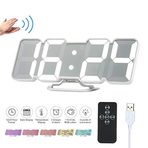 Decdeal Orologio da Parete Digitale,Sveglia da Comodino,3D Sveglia LED con Telecomando USB Tempo/Temperatura / Display Dati 115-Colore Modifica Luminosità a 3 Livelli Controllo - Nero