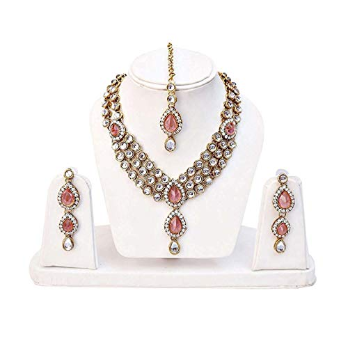 Shining Diva Fashion Gold Plated Pink Kundan Party Wear Traditional Necklace Jewellery Set for Women & Girls(8647s)