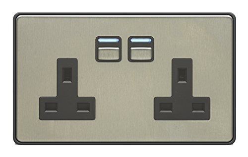 Two Gang Stainless Steel Smart Socket - Works with Apple HomeKit, Amazon Alexa and Google Assistant