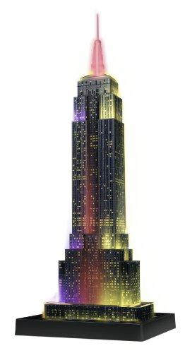 Ravensburger Puzzle 3D Empire State Building-Edizione Speciale Notte, 216 Pezzi, Colore Nero, 12566...