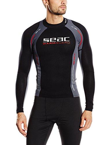 Seac Warm Guard Long - Chaleco protector térmico manga larga, para hombre, en neopreno de 0,5 mm, protector contra salpicaduras para el buceo y la natación anti-UV, Negro/Gris, M