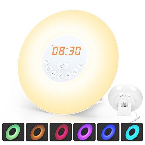 Wake Up Licht Lichtwecker Radiowecker Tageslichtwecker mit Snooze Funktion LED Wecker FM Radio Touch-Steuerung 7 Klänge 10 Helligkeitsstufe mit Adapter für Kinder Erwachsener