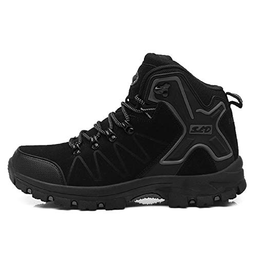 H-Mastery Botas Trekking Hombre Mujer Impermeables Zapatillas de Senderismo Zapatos de Montaña Invierno(Negro,talla40)