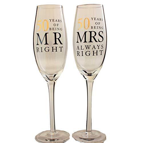 Calici da champagne con scritta per 50 anni di matrimonio, nozze d'oro