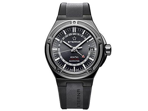 Eterna Royal KonTiki Uhr, Eterna 3945-A, Schwarz, Kautschukband, 7740.43.41.1289