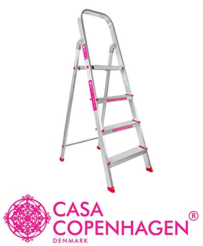 Casa Copenhagen Exotic Classic 2019,Ultra-Stable 4-Step Foldable Aluminium Ladder 130 cm (4.25 ft.) with 5-Year Warranty,Top Platform Size 10 inch X 10 inch & Step Size 14,15,16 Inches