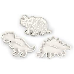 Kitchencraft Fred Set de molde Cortador para Galleta de Dinosaurios, Aluminio, Plateado, 61x7.38x2.22 cm, 3 Unidades