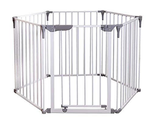 "Emily Pets 3-in-1 Metal Safety Gate - 144 inches Long Play Yard: Create an Extra-Wide gate or a Play Yard. Hardware Mount or freestanding. 6 Panels, 10 sq. ft. Enclosure (30"" Tall, White)"