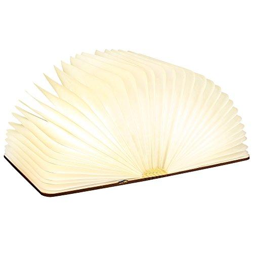 Sailnovo Lampada Libro LED, USB Ricaricabile Magnetico Pieghevole in Legno Decorativo Luce Notturna...