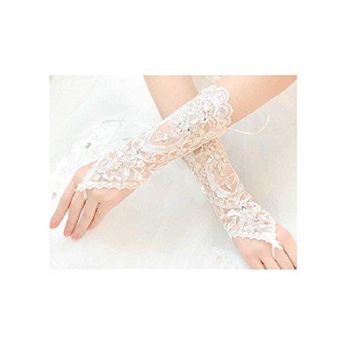 Il Rhinestone elegante del fingerless ha abbellito i guanti nuziali di lavoro a maglia per la festa...