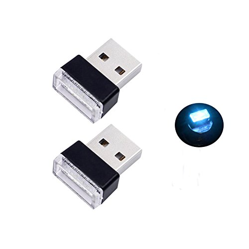 Bello Luna 2 pezzi USB Car Interior Ambient Lampada per auto Notebook Power Bank - Ice Blue
