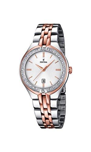 Festina F16868/2, orologio al quarzo da donna, con quadrante bianco analogico e cinturino in acciaio inox color oro rosa (placcato)