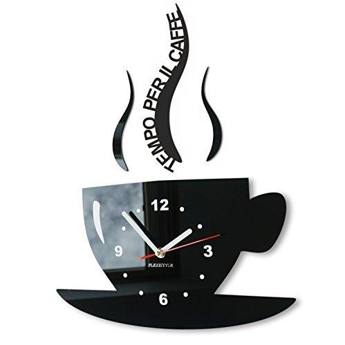 FLEXISTYLE Orologio da parete da cucina tazza LA TAZZINA Tempo per il caffè nera silenzioso moderno per bar 3 d decorativo (nero)