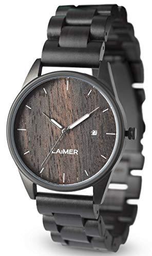 LAiMER Herren-Armbanduhr SASCHA Mod. 0075 aus Sandelholz - Analoge Quarzuhr mit Edelstahlgehäuse und braunem Holzarmband