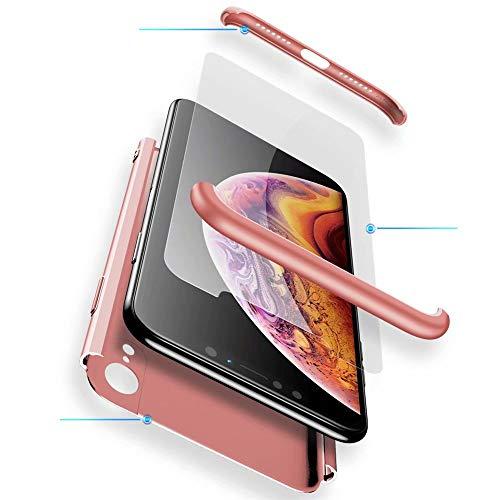WYRHS Funda Samsung Galaxy S8 Plus Protección de 360 Grados 3 en 1 con [Protector de Pantalla de Vidrio Templado] Silicona TPU Bumper Shockproof Resistente a Los Arañazos Cover-Oro Rosa