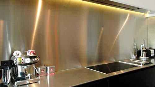 Crédence inox spazzolato-Altezza 40cm x larghezza 130cm