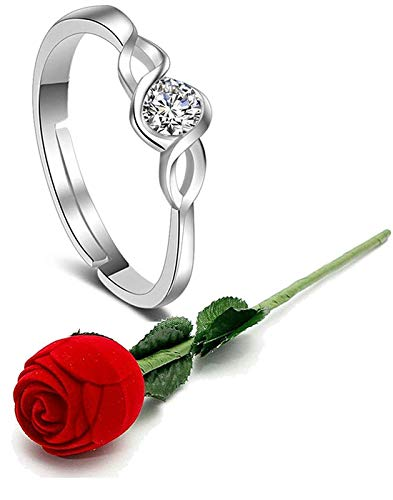 Yellow Chimes Engagement Proposal Ring with Velvet Red Rose Ring Box for Women and Girls. Perfect for Valentines Gift!