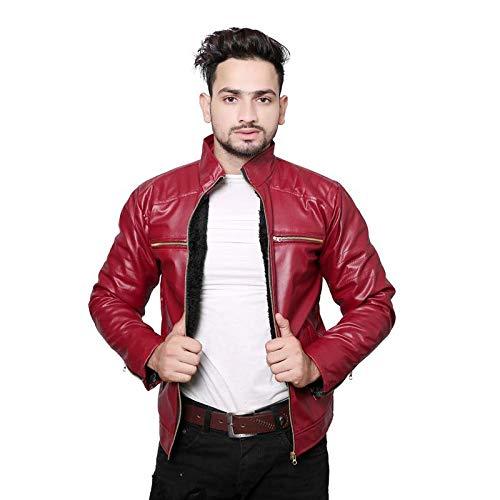 YTF Designer Faux Leather Jacket for Men Red