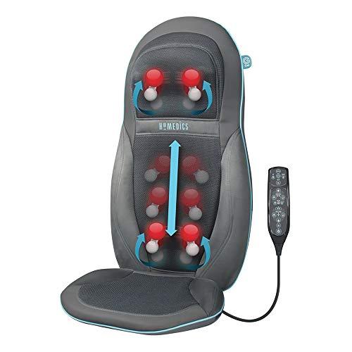 Homedics SGM1600 Seduta Massaggiante Esclusivo Technogel, Doppio motore per collo e schiena, Tipo: Massaggio Shiatsu + Rolling, 3 livelli di velocità regolabili