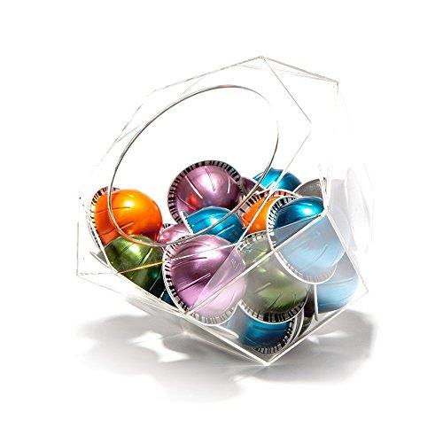 Capsule porta capsule Nespresso Vertuoline Hexagon plexiglass, trasparente, dispenser salvaspazio...