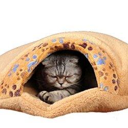 katzeninfo24.de Schöne warme Hund Katze Schlafsack-Bett-Nest Haus Kennel Kitten Thermal Hiding (S 46x 47x 17cm)