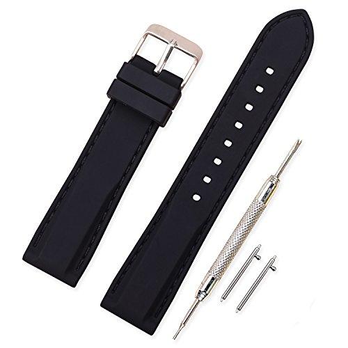 Vinband Cinturino in silicone cinturino caucciù multicolore impermeabile argento fibbia 18, 20, 22, 24 mm - cinturini orologi orologio cinturino (20mm, nero-nero)