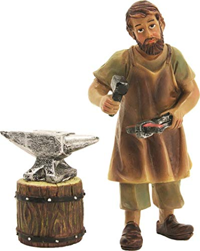 Statuina Accucciata, Fabbro con Incudine Altezza Statuina circa 8cm