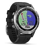 Garmin Fenix 5 Plus Smartwatch Multisport con Mappe GPS, Musica e Pagamento Contactless, Glass 47 mm, Bussola/Giroscopio/Altimetro, Silver con Cinturino Nero