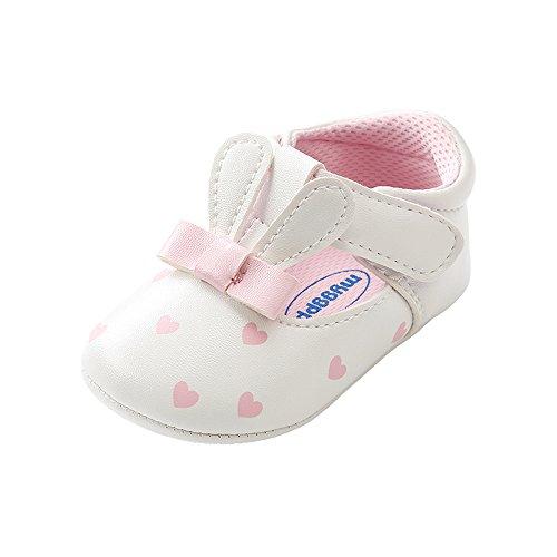 ESTAMICO Sneakers da Bambina in PU Antiscivolo Scarpe da Passeggio Infantili estive Coniglio Bianco 0-6 Mesi