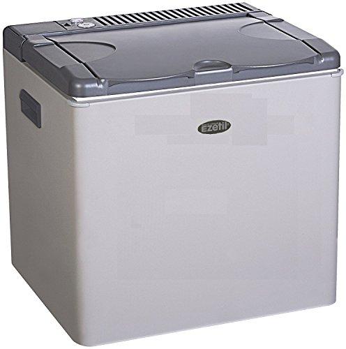Ezetil lautlose Absorber Kühlbox/Mini Kühlschrank 50 L, Autokühlbox mit 3 Wege Kühlsystem (12 V Auto, 230 V Stromnetz und Gasbetrieb), Autokühlschrank für 72 Getränkedosen, inkl. Eiswürfelbehälter