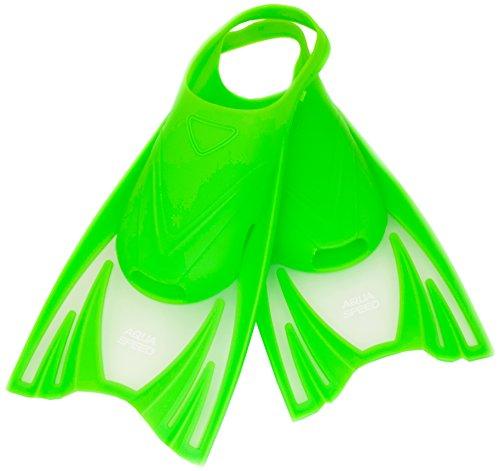 Aqua Speed - Frog Kurze Schwimmflossen für Kinder   Mädchen   Jungen   Trainingsflossen   Schwimmtraining   Kurzflossen   Taucherflossen, Farbe:Grün, Größe:30-34 (M)
