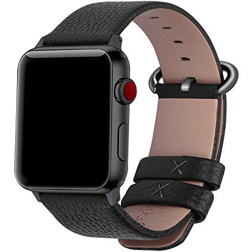 Fullmosa Compatibile Cinturino per Apple Watch 38mm/40mm e 42mm/44mm,15 Colori Yan Pelle Cinturino/Cinturini di Ricambio, Cinturino per iWatch Series 5,4,3,2,1, Uomo e Donna, Nero + Fibbia Gun-Grigio