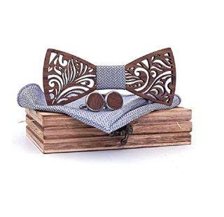 Gemelli in legno set con papillon e fazzoletto