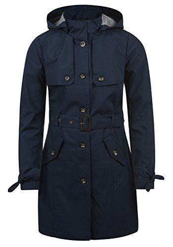 Desires Tina Giacca Trench Coat Transitorio da Donna con Cappuccio, Taglia:L, Colore:Insignia Blue (1991)