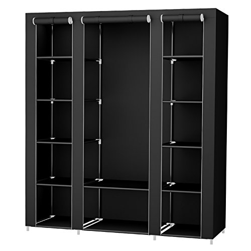SONGMICS Groß XXL Kleiderschrank Stoffschrank Faltschrank mit Kleiderstange 175 x 150 x 45 cm DREI hochrollbare Türen (Schwarz) LSF03H