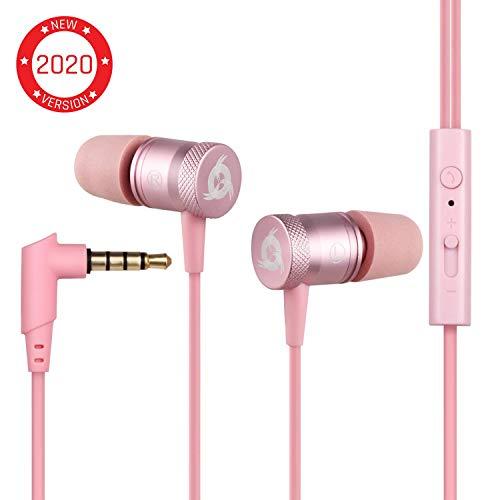KLIMTM Fusion Auricolari con Microfono + Audio di Alta qualità + Cuffie Rosa di Lunga Durata con...