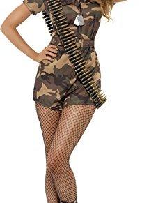 Smiffy's Disfraz de mujer soldado sexy, camuflaje, con mono de pantalones cortos, cinturó, Color, S - EU Tamaño 36-38…