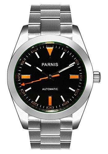 PARNIS-Orologio da polso 2095da uomo automatico Orologio ø39mm massiccio acciaio inox 5bar...