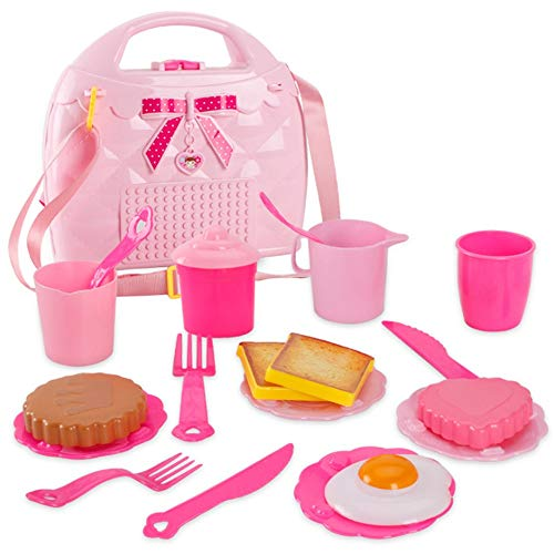 Set da tè per bambole con custodia per il trasporto Gioco di ruolo per bambini Giocattoli per la...