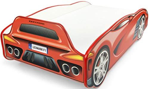 Letto LETTI Per Bambini In Legno Materasso Dimensioni 140x70 Sport Car Auto Rosso Da Corsa Letto...