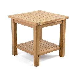 floristikvergleich.de Divero Beistelltisch Blumenhocker Balkontisch Teak Holz Tisch für Terrasse Balkon Garten ? Wetterfest Stabil behandelt ? 50 x 50 cm Natur-Braun