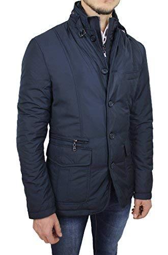 Giubbotto Piumino Uomo Sartoriale Blu Casual Elegante Giacca Invernale Slim Fit (M)