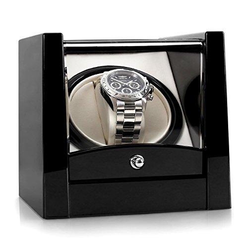 Klarstein Cannes Uhrenbeweger Uhrendreher Uhrenbox Uhrenkasten (für 1 x Automatikuhr, Links-Rechts-Lauf, vorprogrammierter Drehrhythmus, max. 2160 U/ 24h, Laufleise, Pianolack) schwarz