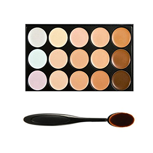 Boolavard® TM 15 tonalità colore Concealer Palette Kit fare Up Set trucco con cosmetici ovale compone la spazzola