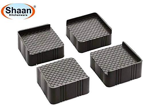 Shaan 4-Pieces Almirah, Wardrobe, Refrigerator Stand (Grey Black) Washing Machine Stand,Furniture Base Stand