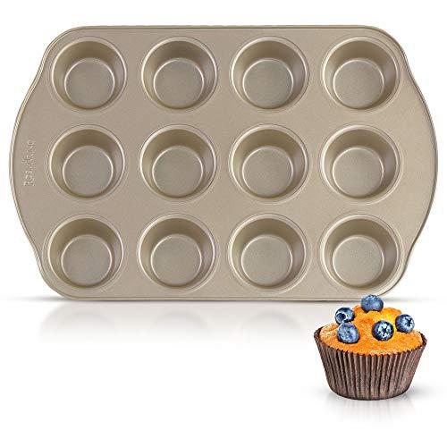 ROSMARINO Teglia per Muffin Antiaderente - Stampo Muffin in Accacio al Carbonio - Stampo per 12...